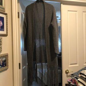360 Cashmere Fringe Cardigan Sweater